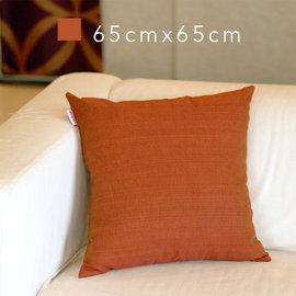 Basa原色抱枕^(含枕心^)~磚紅 65cm×65cm 羅紋布面 配色隱形拉鍊 素色單色