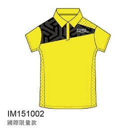 2015RSL國際 POLO排汗衫~低調黑圖騰亮彩黃^(男^)