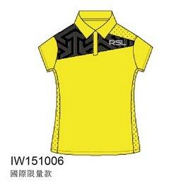 2015RSL國際 POLO排汗衫~低調黑圖騰亮彩黃^(女^)