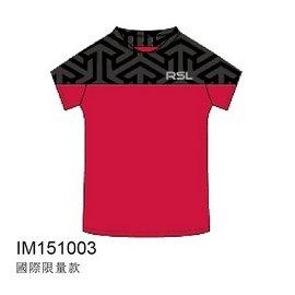 2015RSL國際 圓領排汗衫~低調黑圖騰華麗紅^(男^)