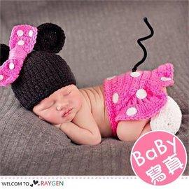 童裝 嬰兒攝影寫真粉色米妮帽+包屁褲+襪套 套裝【HH婦幼館】