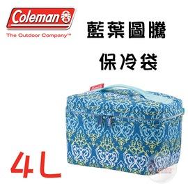 探險家戶外用品㊣CM-22228 美國Coleman 4L 藍葉圖騰保冷袋 冰桶冰筒行動冰箱保冷箱保冰袋