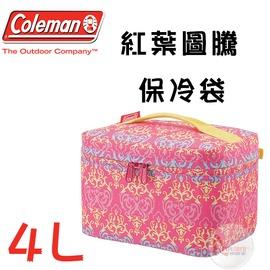 探險家戶外用品㊣CM-22231 美國Coleman 4L 紅葉圖騰保冷袋 冰桶冰筒行動冰箱保冷箱保冰袋