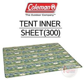 探險家戶外用品㊣CM-23127 美國Coleman 300帳蓬內墊地毯 (鄉村綠藍圖騰) PU發泡睡墊 免自動充氣非PE鋁箔睡墊