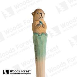 木雕森林 Woods Forest ~ 動物木雕筆~海獺~^( 筆質量輕;握筆輕鬆舒適;滑