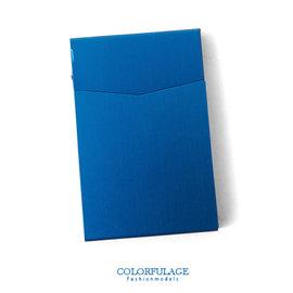 香菸盒 簡潔優美金屬自動彈蓋式煙盒 極光藍輕巧超薄型男單品 柒彩年代~NL134~俐落率性