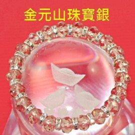 金元山珠寶銀樓~ 飾品鑽石切面淺紫色水晶合金鍍銀串珠手環