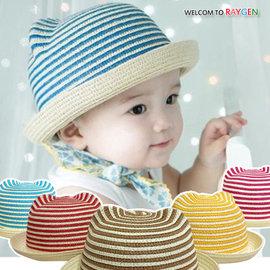 帽子 春夏立體耳朵條紋寶寶草帽 海灘帽 遮陽帽【HH婦幼館】