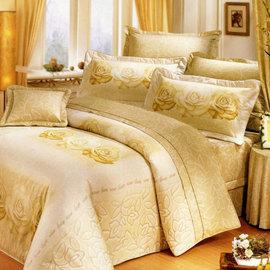 【艾莉絲-貝倫】香榭玫瑰(5.0呎x6.2呎)三件式雙人(100%純棉)枕套床包組(米黃色)-T3H-F050-YL-M