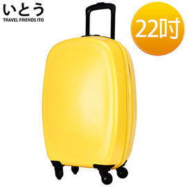 ~正品Ito 伊藤ゆシよ 潮牌~22吋 PC 鏡面拉鏈硬殼行李箱 1101系列~黃色