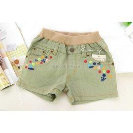 ^~短褲^~ 日系淺綠刷舊刺繡薄款牛仔短褲 ^(A133^)✰ 三件500元