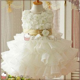 歐系優雅多層次立體花朵小禮服 畢業白洋裝 花童禮服