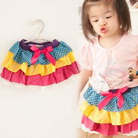 女 佩佩豬 粉紅豬小妹 可愛甜美小教主 韓國 彩虹點點蛋糕褲裙 140碼^(90^)