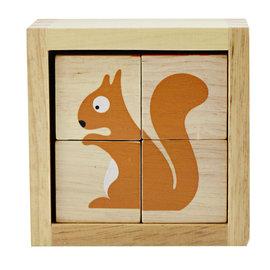 ~ ~美國Begin Again 木質正方立體動物拼圖 木頭玩具^~小庭院