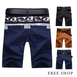 Free Shop~QR03070~日韓風格後側腰間迷彩皮質撞色拼接素面休閒短褲工作短褲•