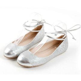日系公主芭蕾舞腳腕綁帶平跟平底娃娃女鞋 銀 32~43~no~40508098309~