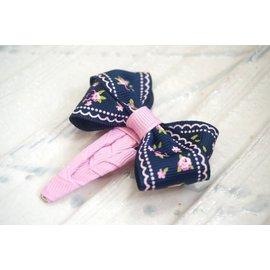 ~liliantang~ 蝴蝶結 ~~ 黑底粉紅印花蕾絲玫瑰花蝴蝶結小髮夾 髮飾