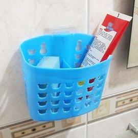 【Q禮品】B2475 吸盤雙格瀝水收納籃/吸盤置物架/置物籃/衛浴收納籃/牙刷架牙膏架/廚房菜瓜布瀝水籃
