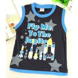 ^~零碼110cm^~ CISALPIN火箭印刷字母藍黑色無袖背心上衣 ^(A224^)