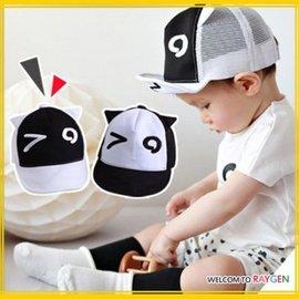 帽子 個性黑白眼睛網格耳朵潮帽 遮陽帽【HH婦幼館】