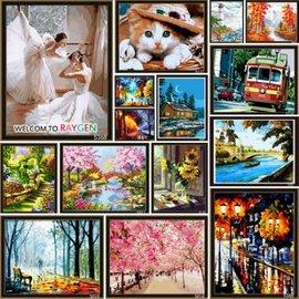 繪畫 DIY手繪風景人物花卉數字油畫 40x50 123~133【HH婦幼館】
