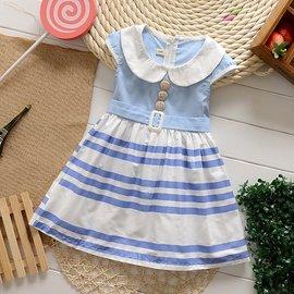 ^~^~海軍風條紋裙襬洋裝S651