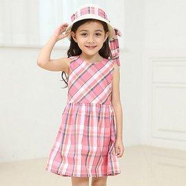 ^~^~粉色菱格紋洋裝S657