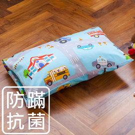 枕頭 兒童枕~防蹣抗菌纖維枕 精梳棉 交通樂園 美國棉 品牌^~鴻宇^~ 製1778