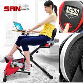 【SAN SPORTS 】超跑飛輪式磁控健身車C082-923臥式健身車臥式車懶人車X型BIKE美腿機折疊腳踏車摺疊自行車運動健身器材推薦哪裡買