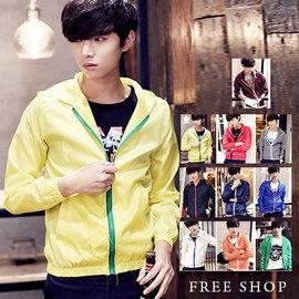 Free Shop~QTJJK06A~ 日韓風格撞色壓邊拉鍊彈性縮口休閒連帽風衣外套防曬外