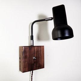 5Cgo ~ 七天交貨~ 45828242595 復古工業原木質壁燈黑胡桃木床頭帶開關閱讀