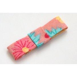 ~liliantang~ 蝴蝶結 ~~ 漂亮的玫瑰粉底印花棉布不滑落小蝴蝶結髮夾 髮飾