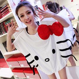 2015 女裝甜美可愛Hello Kitty蝴蝶結印花蝙蝠袖T恤 優雅KT純棉大碼休閒無袖