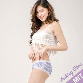 Ashley Chou 蕾絲純棉 親膚透氣 製 低腰寬版包臀女內褲 藍白暈染
