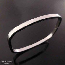 ~~芙娜~~ 細版霧面素面 ~壓扣式矩形白鋼手環