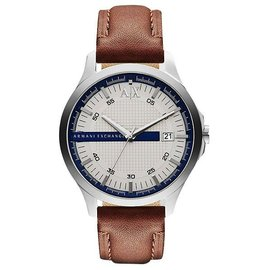 A│X Armani Exchange 雅痞 風格腕錶~銀x咖啡 46mm AX2134