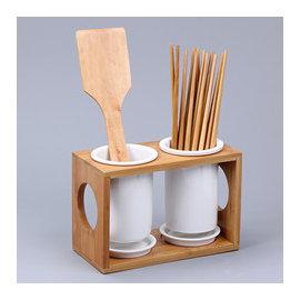 ^~微加幸福雜貨小築^~日式鄉村風 簡約風 筷桶 雙筒竹木 陶瓷  筷筒 筷子收納 筷架