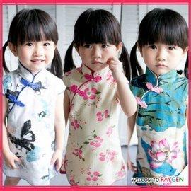 童裝 中國風棉麻花朵立領旗袍 連身裙【HH婦幼館】