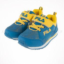 6折出清~FILA 兒童 輕量慢跑鞋-藍/黃 (7-J858P-399)