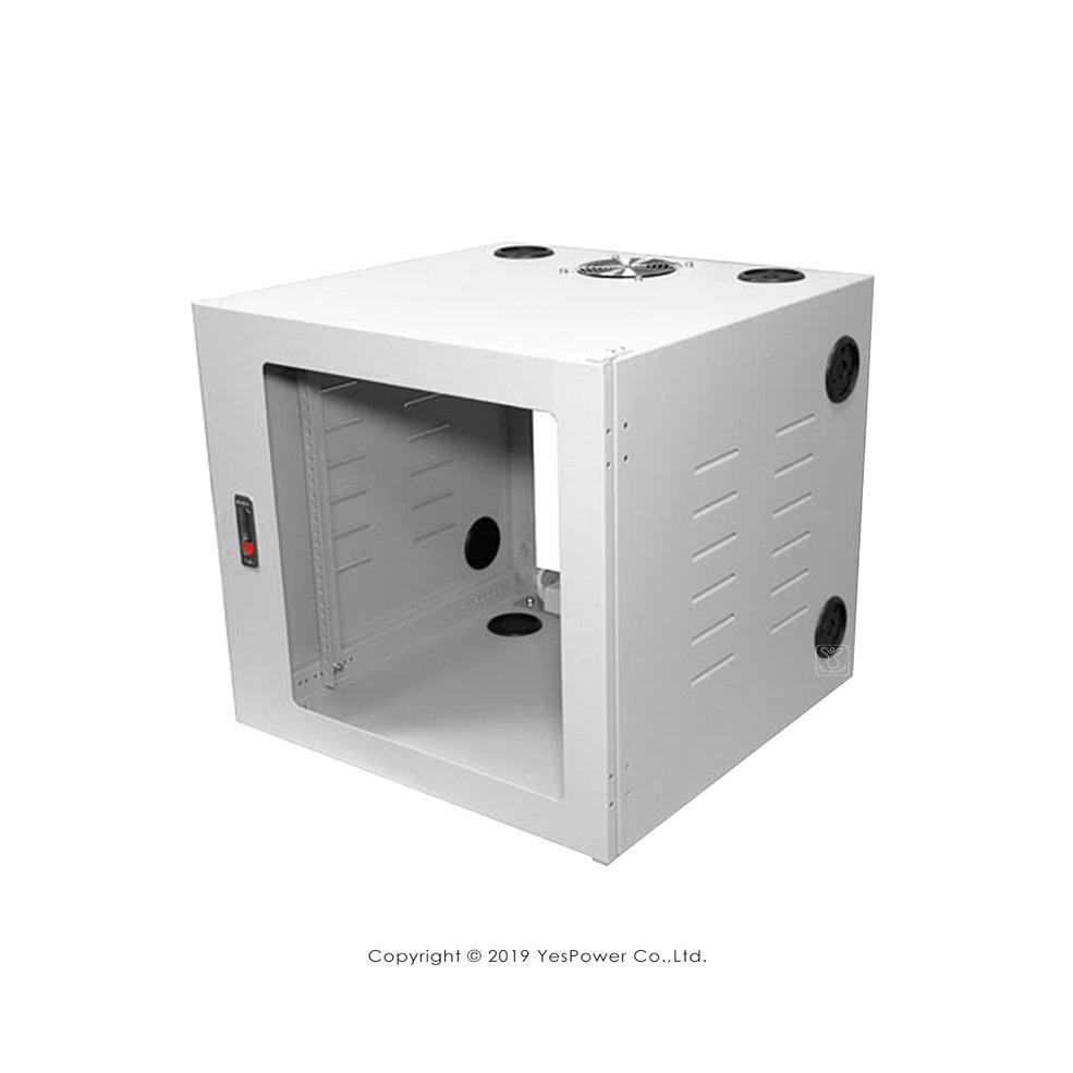 19吋 壁掛機櫃 活動式機櫃 6U~15U 內建壓克力前門、風扇、電源組 板厚1.0~1.