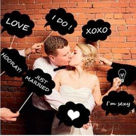 婚禮 創意婚禮拍照DIY小黑板 節慶 生日派對 迎賓創意 對話框10件組【HH婦幼館】