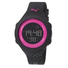 PUMA 螢光賽道 PU錶帶  腕錶~桃紅面 黑帶 42mm