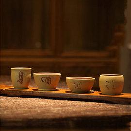 5Cgo~ 七天交貨~ 43739087124 宜興紫砂杯 名家刻繪粉漿杯品茗杯茶盅原礦紫