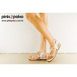 涼鞋~PINKPOKO粉紅波可~簡單亮眼涼夏品 • 側扣金屬鍊飾繞裸T型夾腳  平底涼鞋^