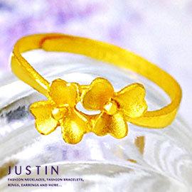 Justin金緻品 純金尾戒 繽紛花耀 美麗絢爛 金飾 黃金女戒指 花朵 百搭 款