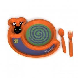 【紫貝殼】『OOPS10-3』瑞士【Oops】歐歐皮 可愛動物餐具組 蝸牛款【餐盤+湯叉】【不含BPA雙酚A和三聚氰胺】