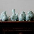 5Cgo ~ 七天交貨~ 26235068457 家居純 捏制影青瓷小鳥景德鎮純 陶瓷器擺
