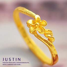 Justin金緻品 黃金尾戒 花樣精靈 金飾 黃金女戒指 純金女戒 金戒子 花朵