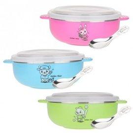 孩子們的可愛餐碗~王樣OSAMA 韓式304不鏽鋼卡通碗 附湯匙~350ml 三色 開學用