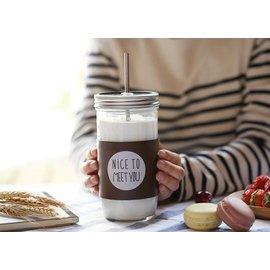 ~Pelly s Shop~文青系列你好玻璃杯棕色皮革 咖啡玻璃罐  攜帶式玻璃杯 附不鏽